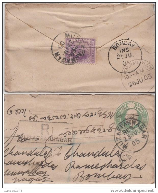 India  KE  1/2A  Postal Stationary  Envelope  Registered MUZAFFARNAGAR To Bombay  #  01033   D    Inde Indien - India (...-1947)