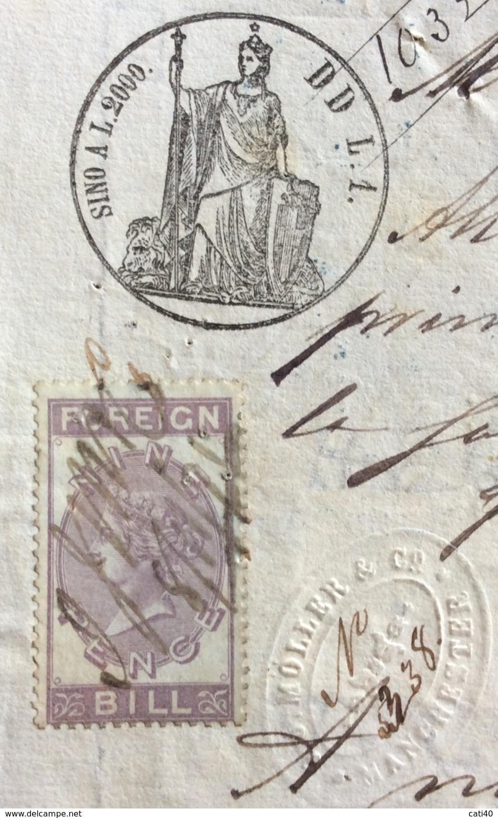 MARCA DA BOLLO SU CAMBIALE(1868) MILANO  1871 DI 1695 LIRE ITALIANE   VARIE FIRME    DOCUMENTO ORIGINALE - Cambiali
