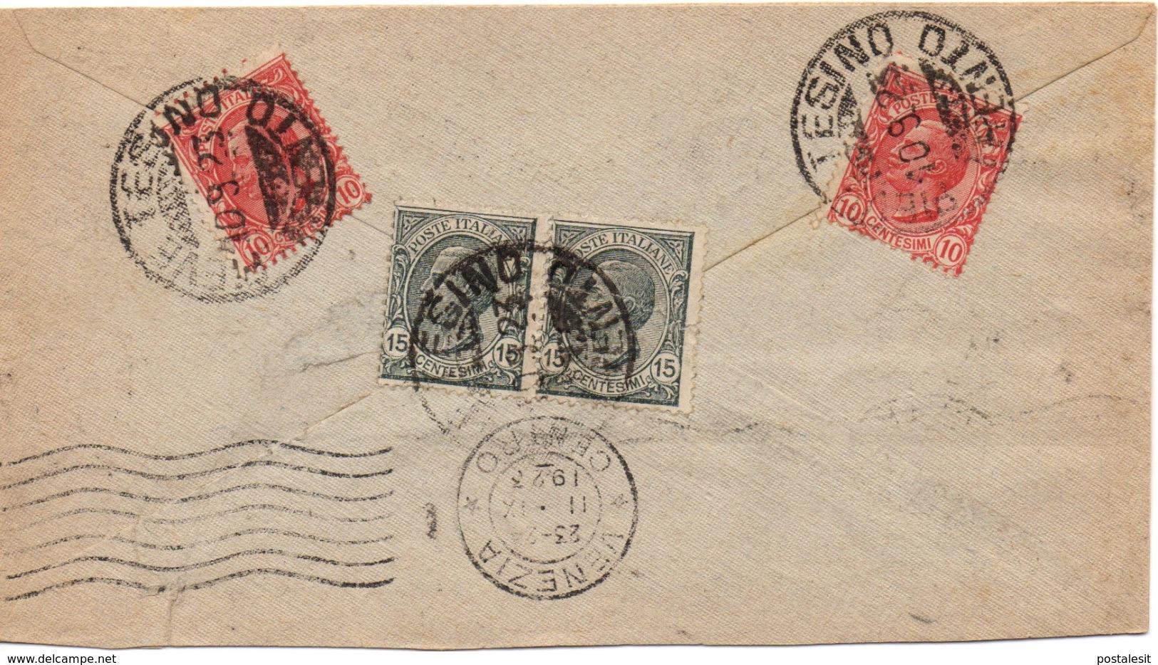 PIEVE TESINO TRENTO Per VENEZIA (MECCANICO) - 10.9.1923 - Busta 50c. (10c. X 2 + 15c. X 2) Leoni 3/106 - 1900-44 Vittorio Emanuele III