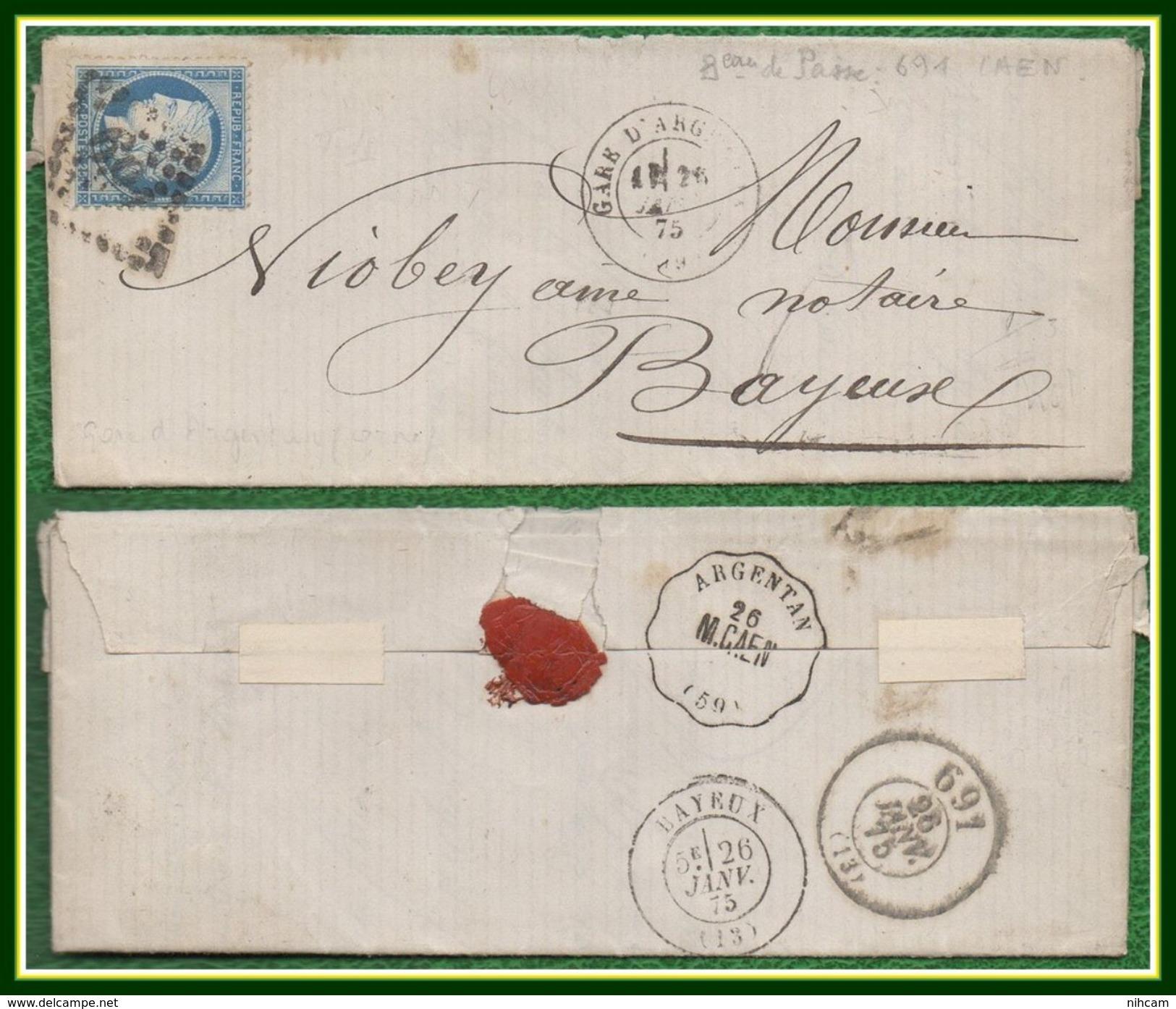 Gare D' Argentan (59) Type 17 Du 26/1/ 1875 + GC 69 Almeneches (VOIR + >) - Postmark Collection (Covers)