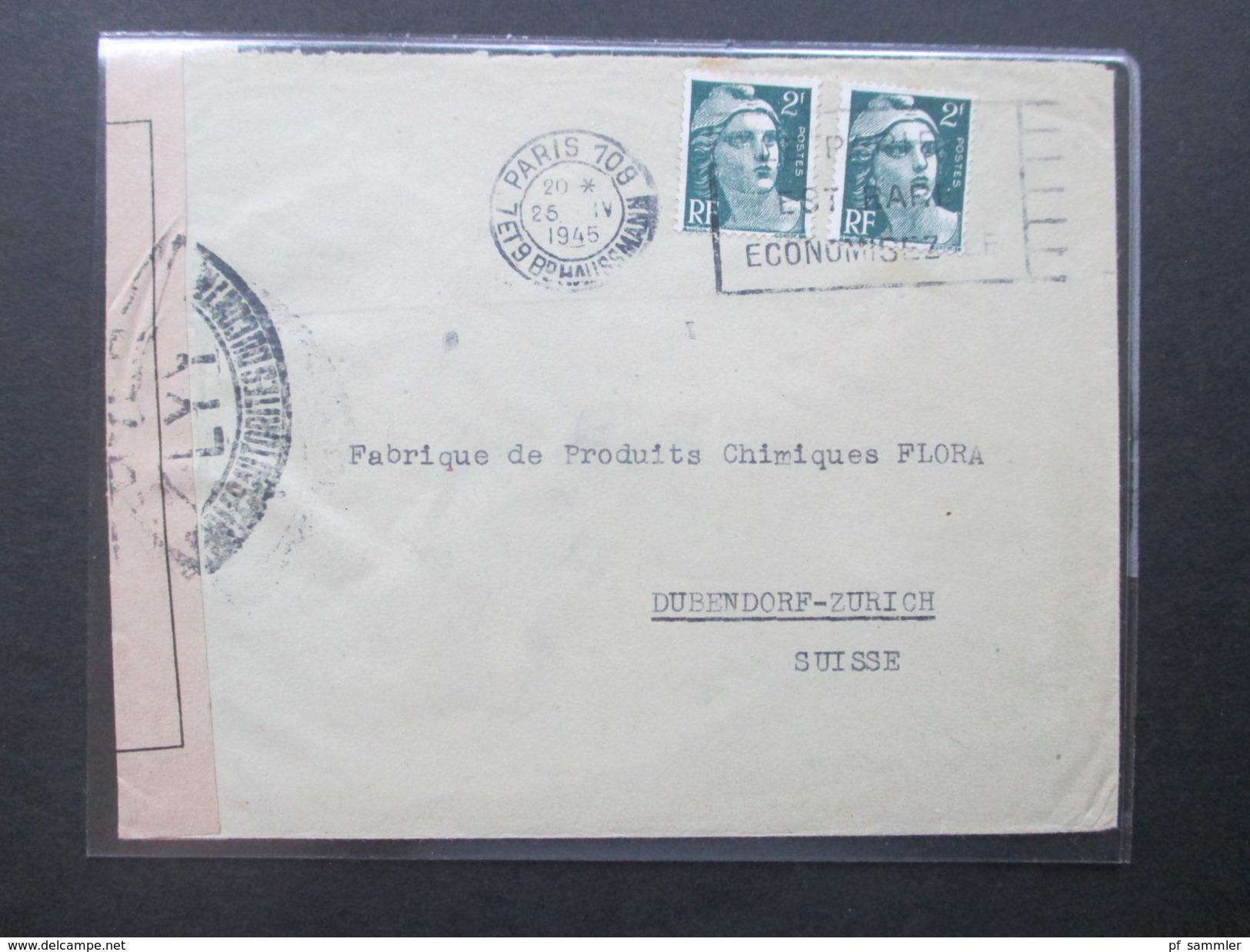 Frankreich 2. WK Zensurpost Briefe Ins Ausland / Mehrfachzensuren! 21 Interessante Belege! Auch 25.4.1945!! - Sammlungen (im Alben)