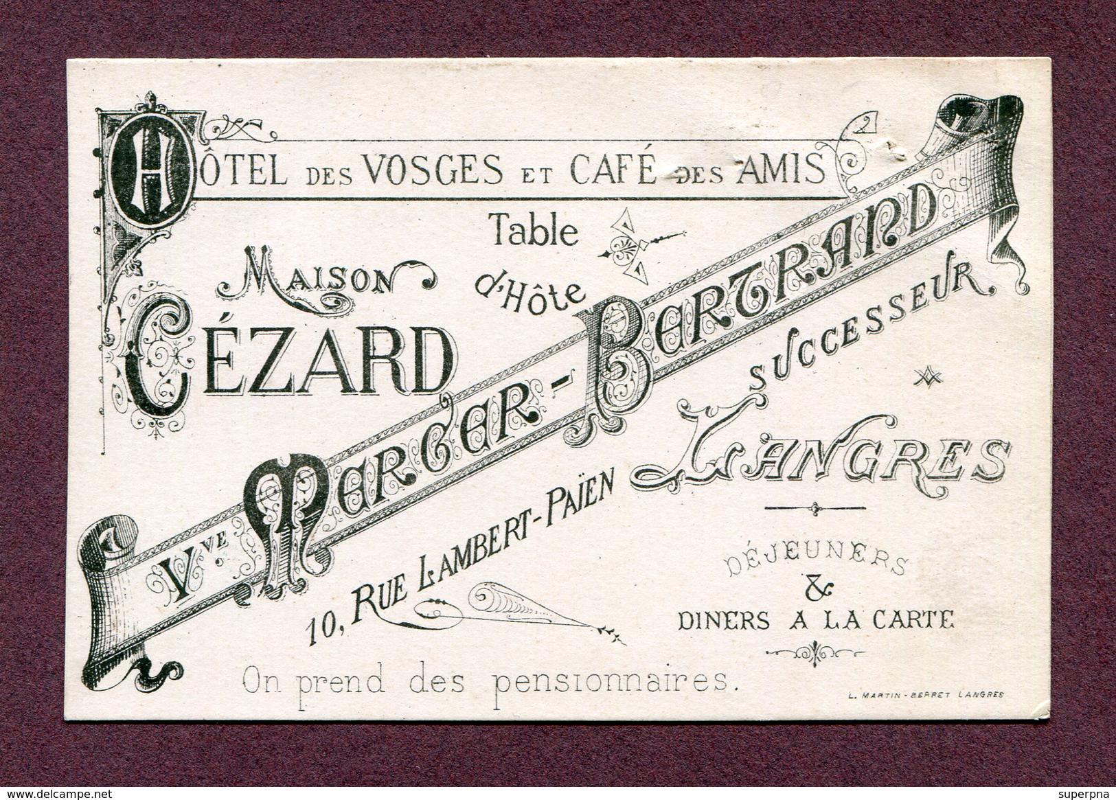 """LANGRES  (52) : """" HÔTEL DES VOSGES - Maison CEZARD """"   Carte De Visite / Menu - Langres"""