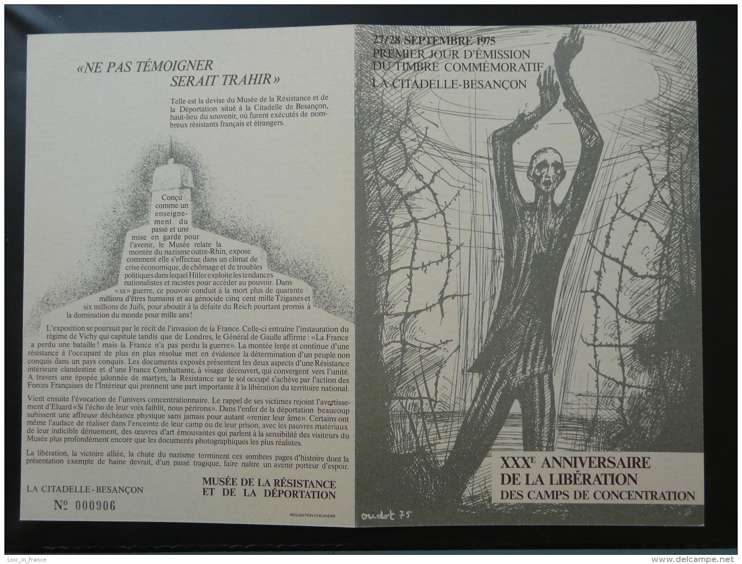 Encart FDC Folder Libération Des Camps De Concentration 25 Besançon 1975 - 2. Weltkrieg