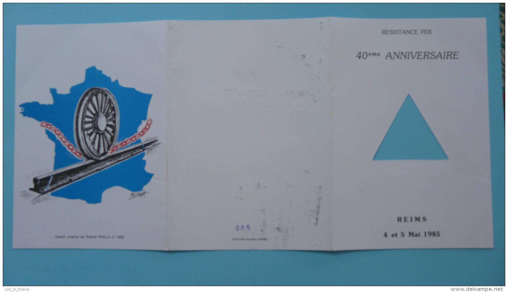 Encart Folder Résistance Chemins De Fer SNCF Train 51 Reims 1985 - 2. Weltkrieg
