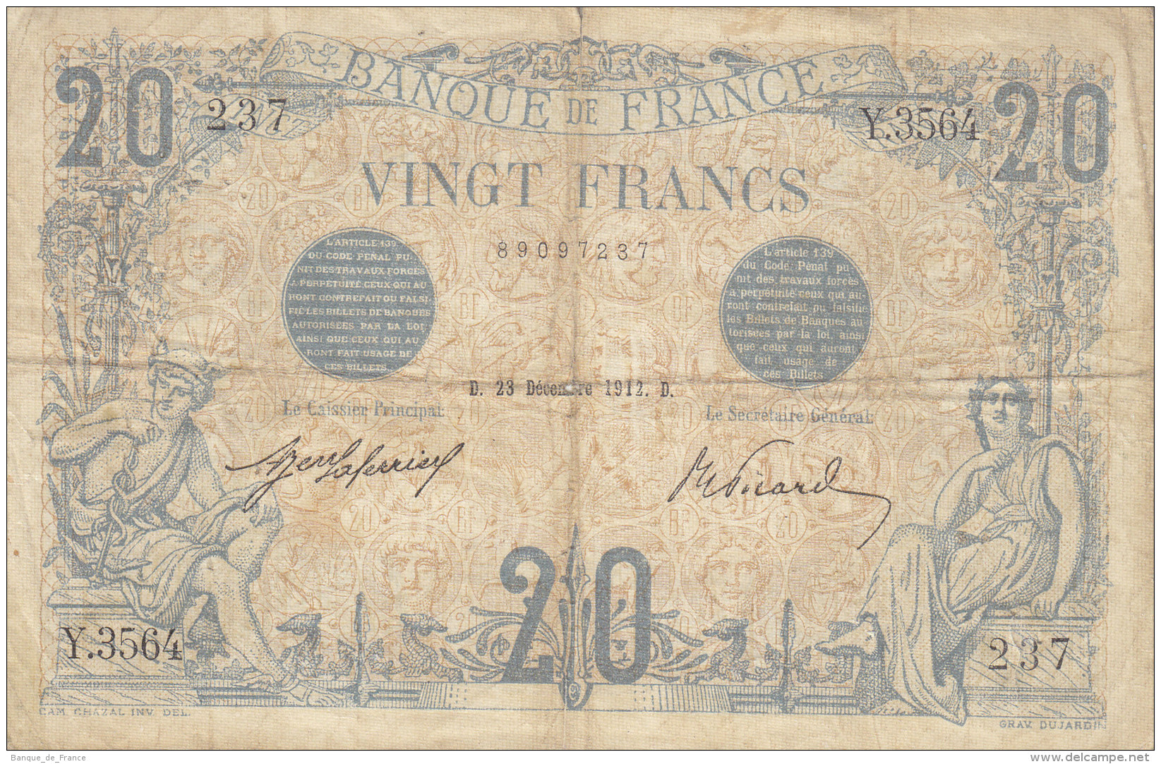 Billet 20 F Bleu Du 23-12-1912 FAY 10.2 Alph. Y.3564 - 1871-1952 Circulated During XXth