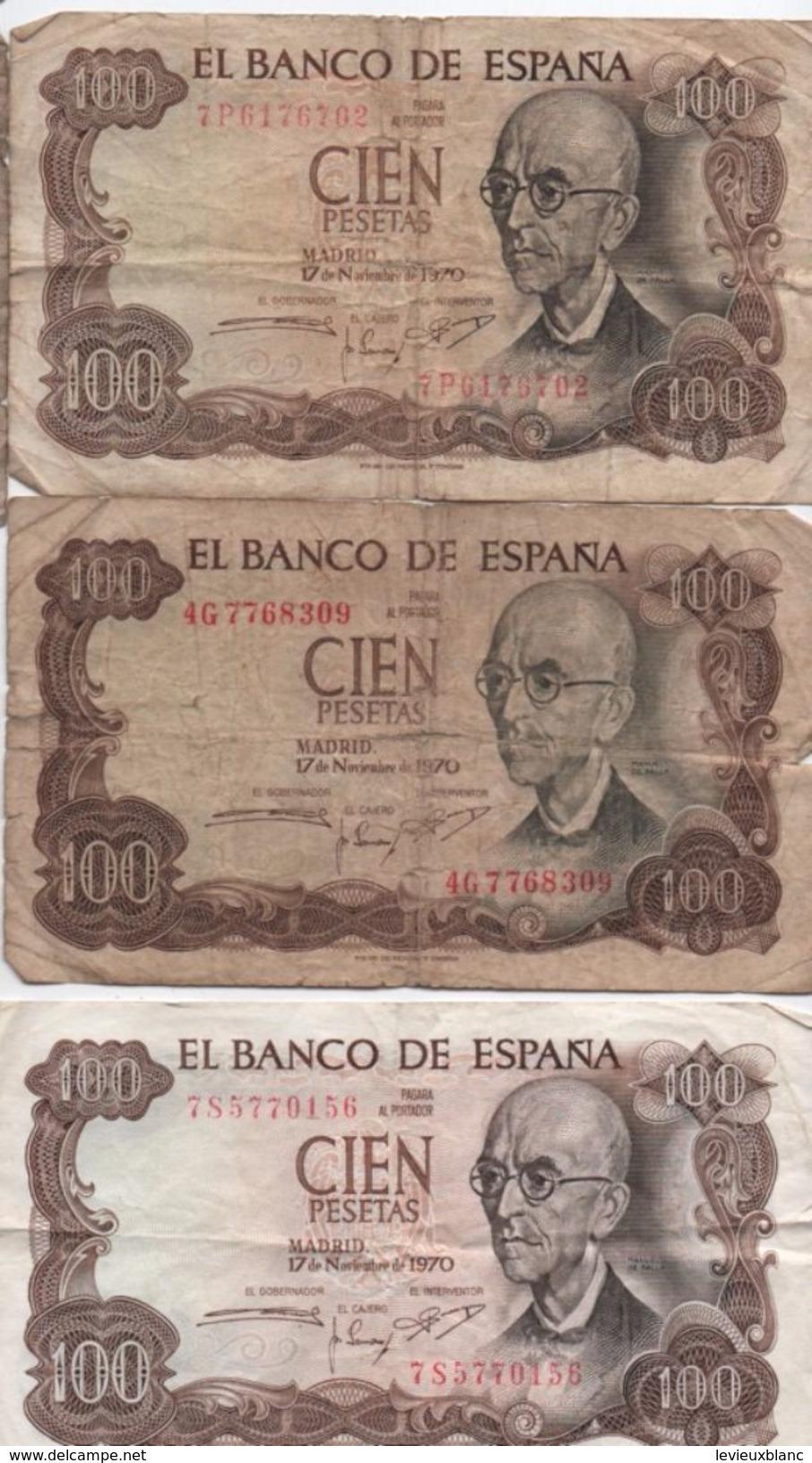 3 Billets / Espagne / El Banco De Espana/ Cien Pesetas /1970     BILL162 - [ 3] 1936-1975 : Régence De Franco
