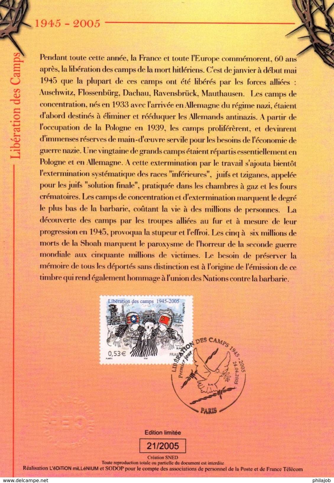 """FRANCE 2005 : Encart 1er Jour """" LIBERATION DES CAMPS """". N° YT 3781. Voir Les 2 Scans. - 2. Weltkrieg"""