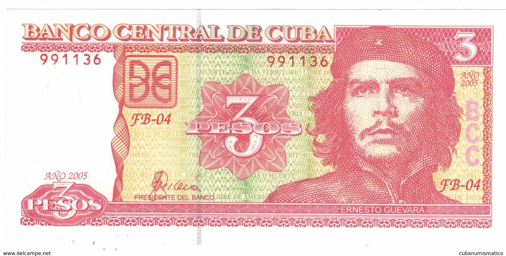 Cuba 3 Pesos 2005 , UNC.  FREE SHIP. TO USA. - Cuba