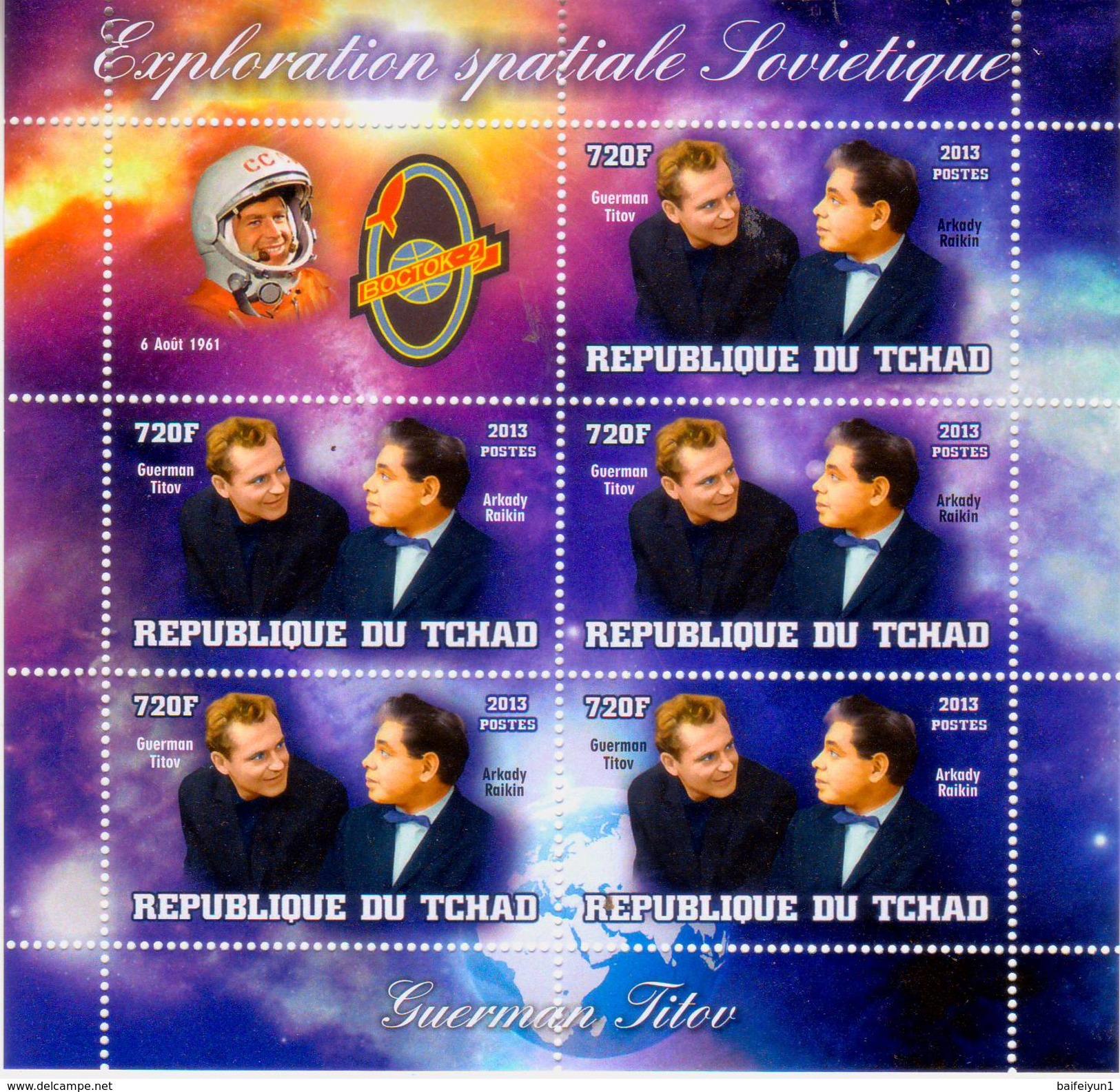 Chad 2013 Stamps Vostok-2 Spacecraft Spaceman Gherman Titov And Actor Arkady Raikin Two MS - Africa