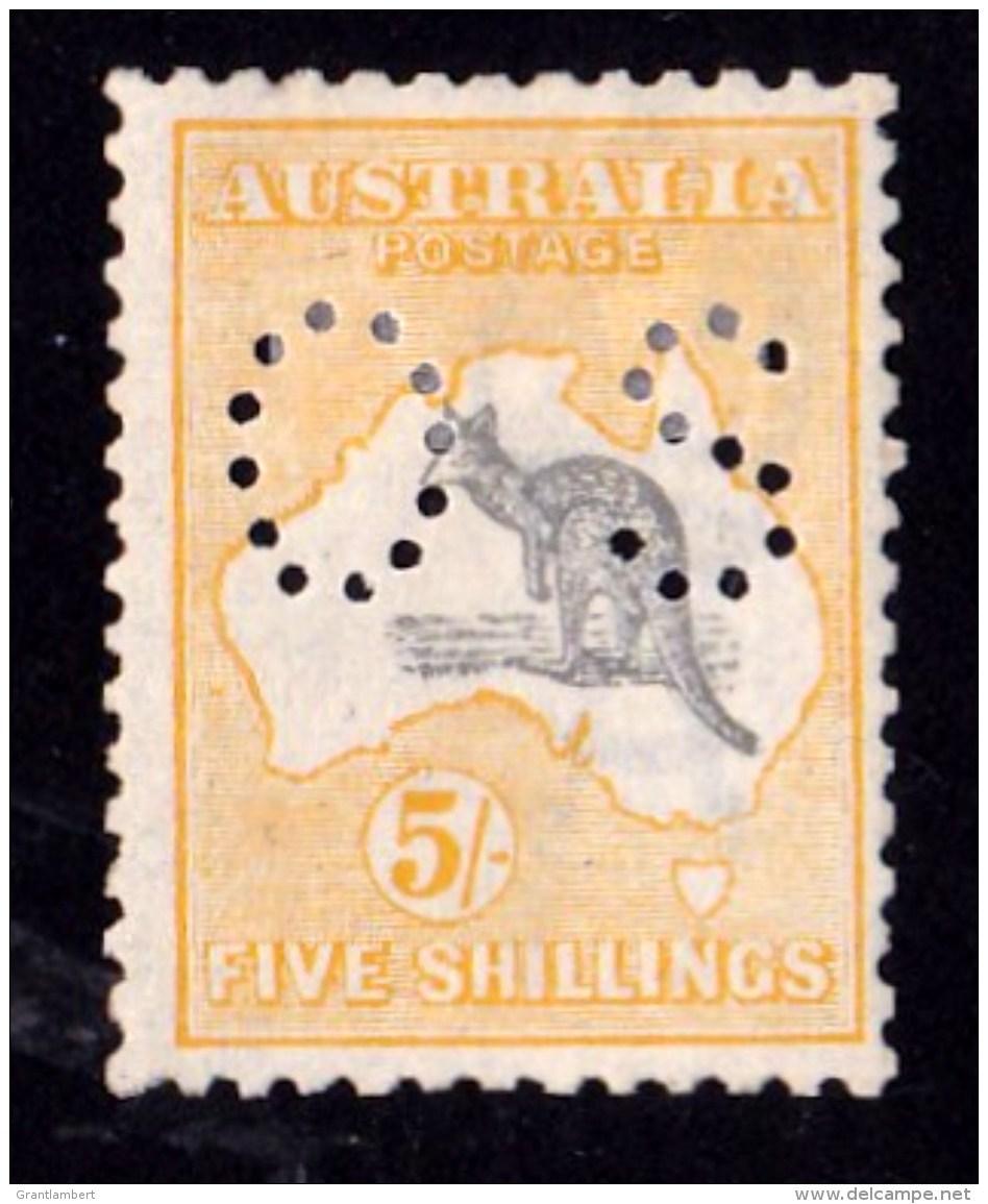 Australia 1918 Kangaroo 5/- Grey & Yellow 3rd Wmk Perf OS MH - Ewe-Faced Variety - 1913-48 Kangaroos