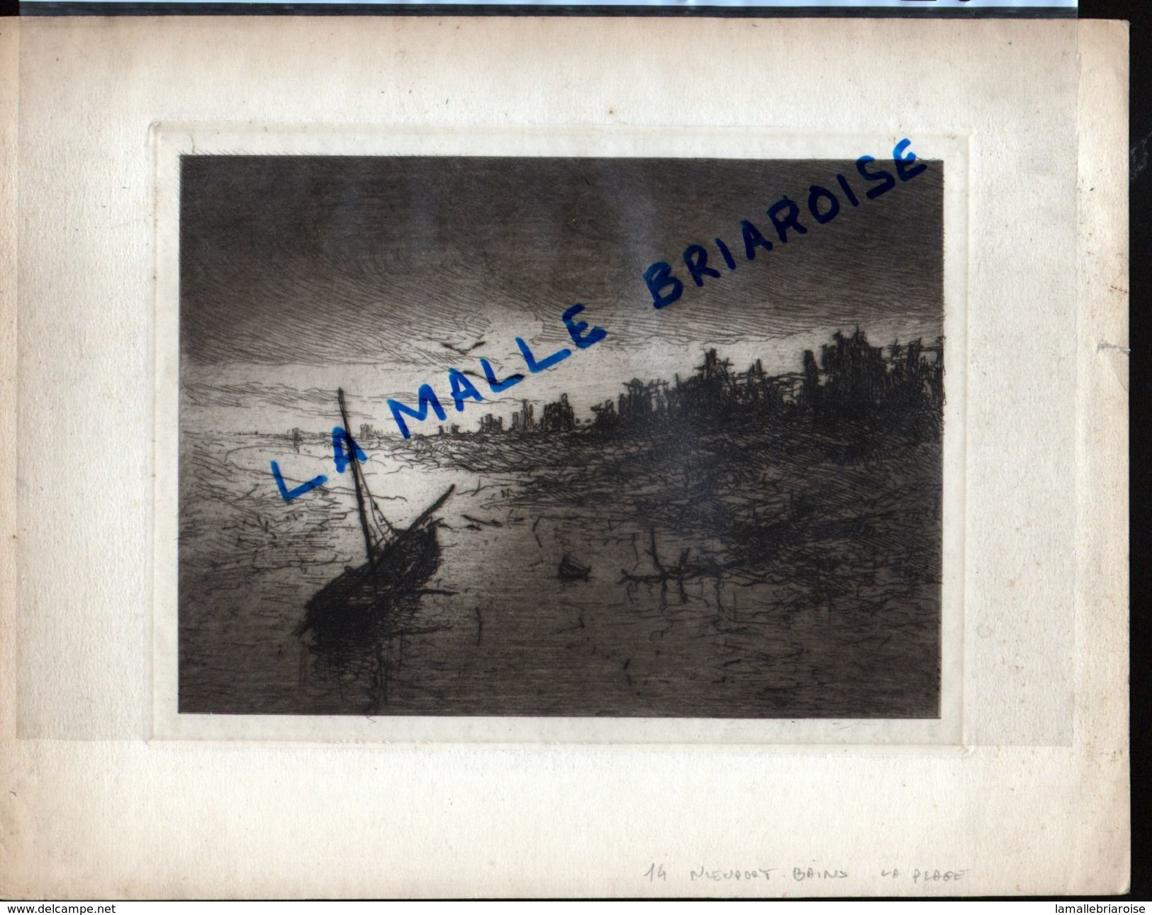 HUYGENS , Eau Forte, Nieuport Bains, La Plage, Militaria - Drawings
