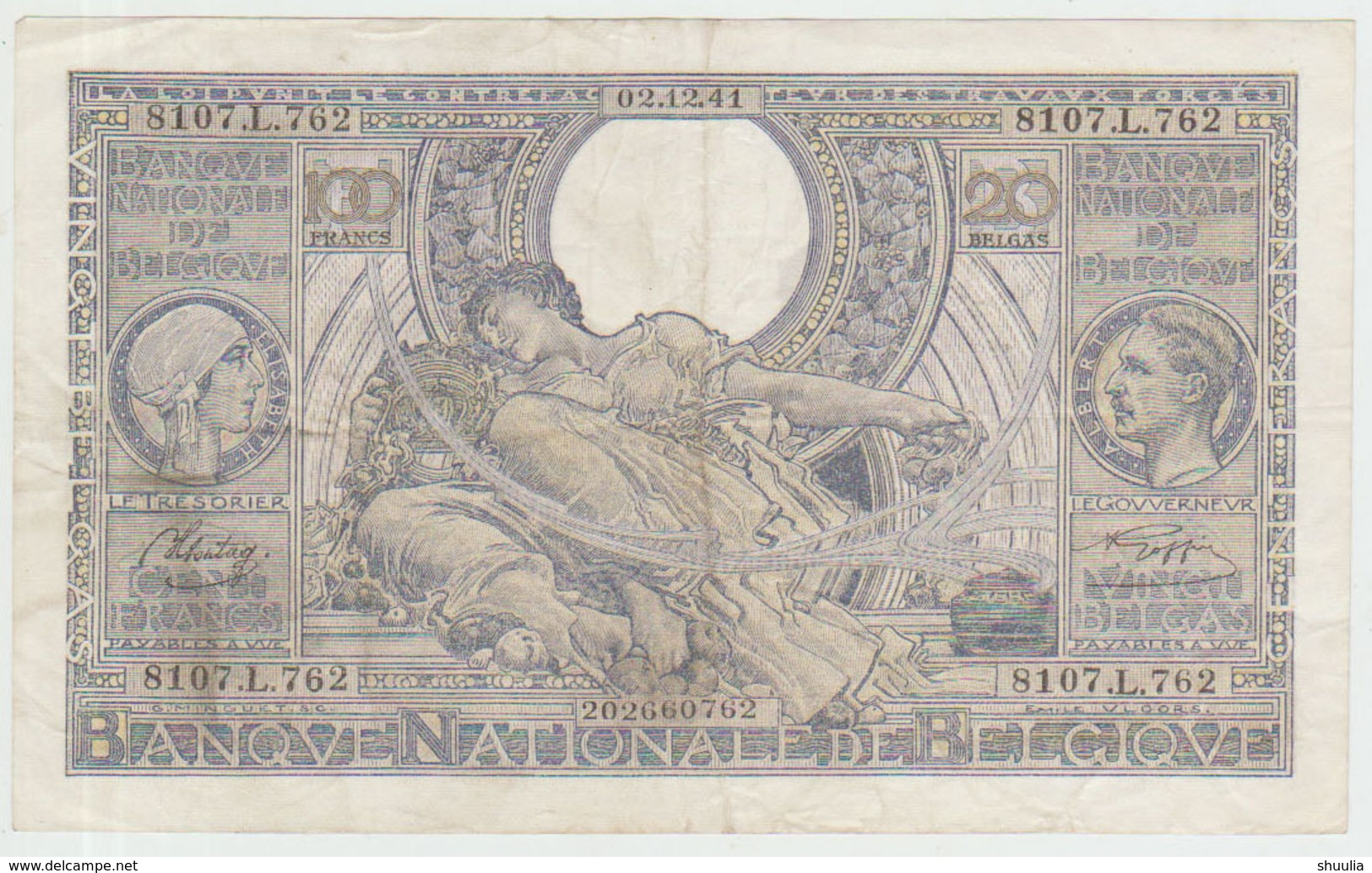 Belgium 100 Francs (02.12.1941) Pick 107 Fine - [ 2] 1831-... : Regno Del Belgio