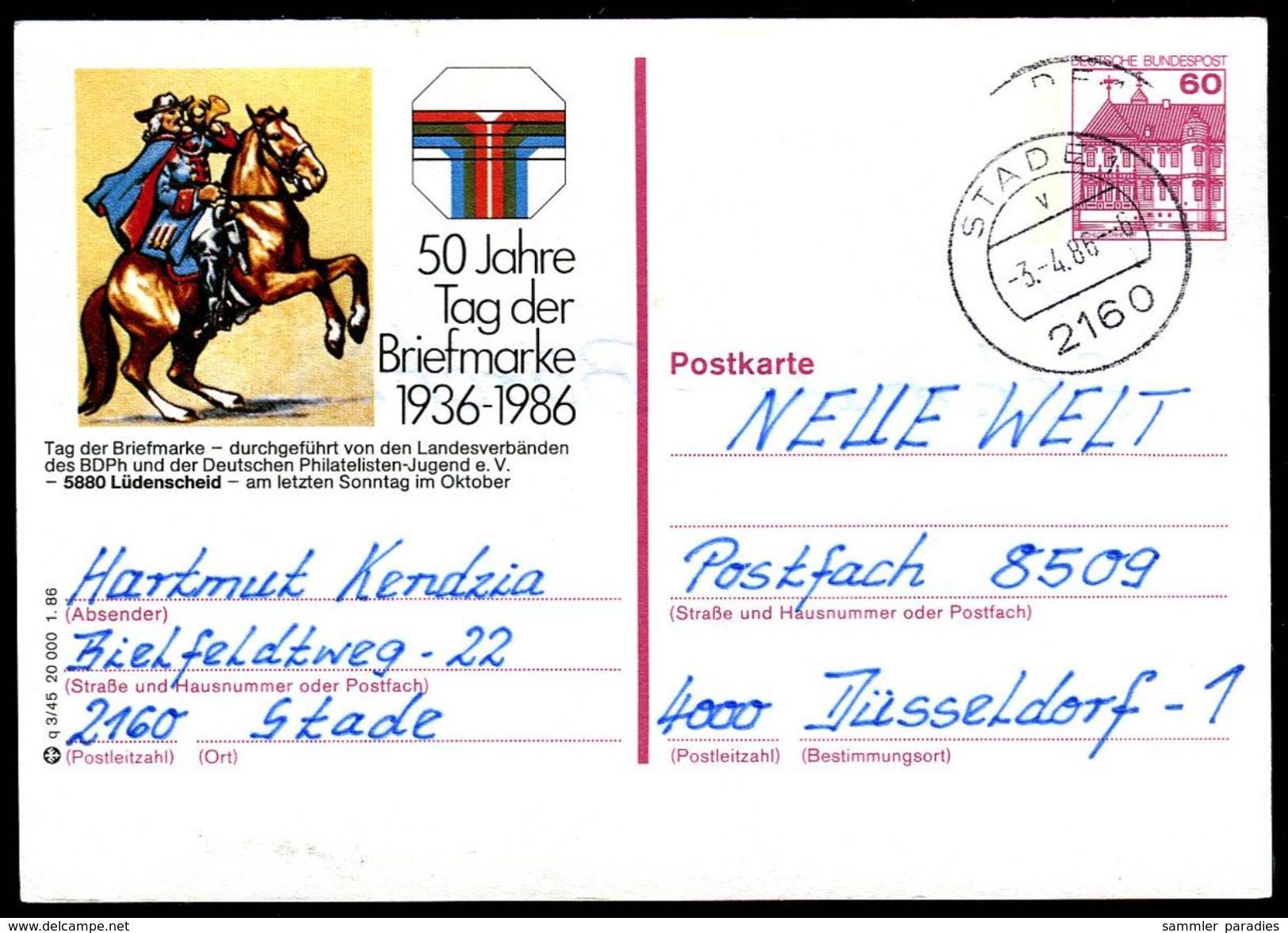 82902) BRD - P 138 - Q3/45 - OO Gestempelt - 5880 Lüdenscheid, 50 Jahre Tag Der Briefmarke - Geïllustreerde Postkaarten - Gebruikt