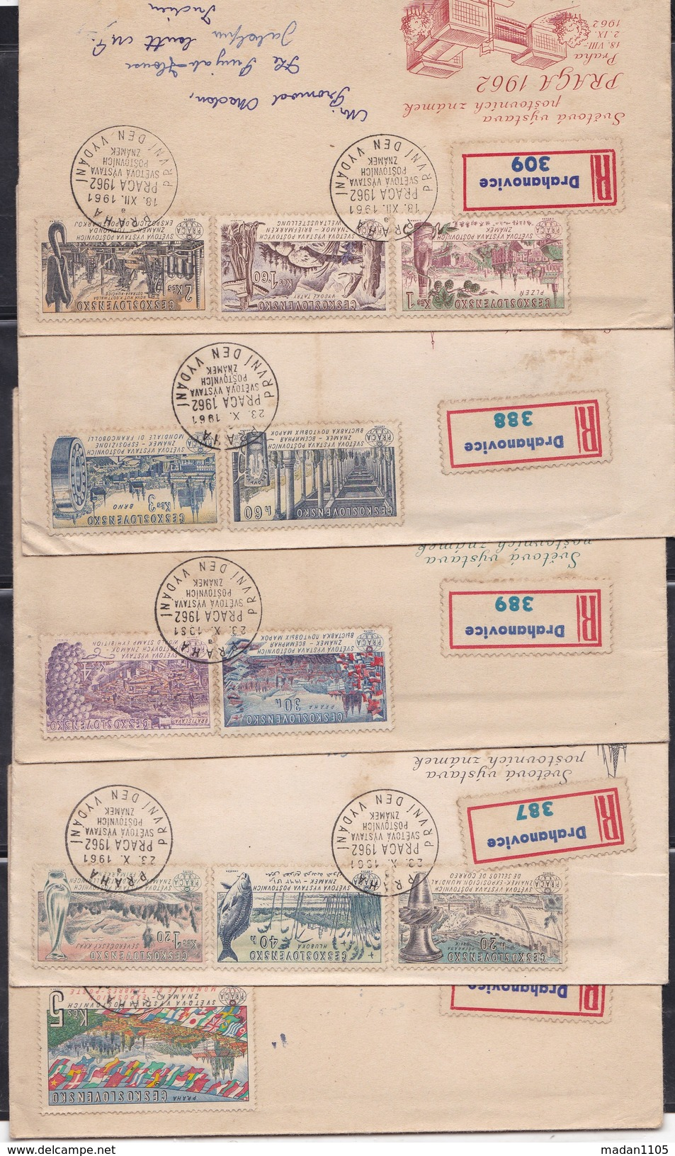 CZECHOSLOVAKIA, 1961, Set Of 5 FDC's,  Prelude To 1962 Praga International Philatelic Exhibition - Tschechoslowakei/CSSR