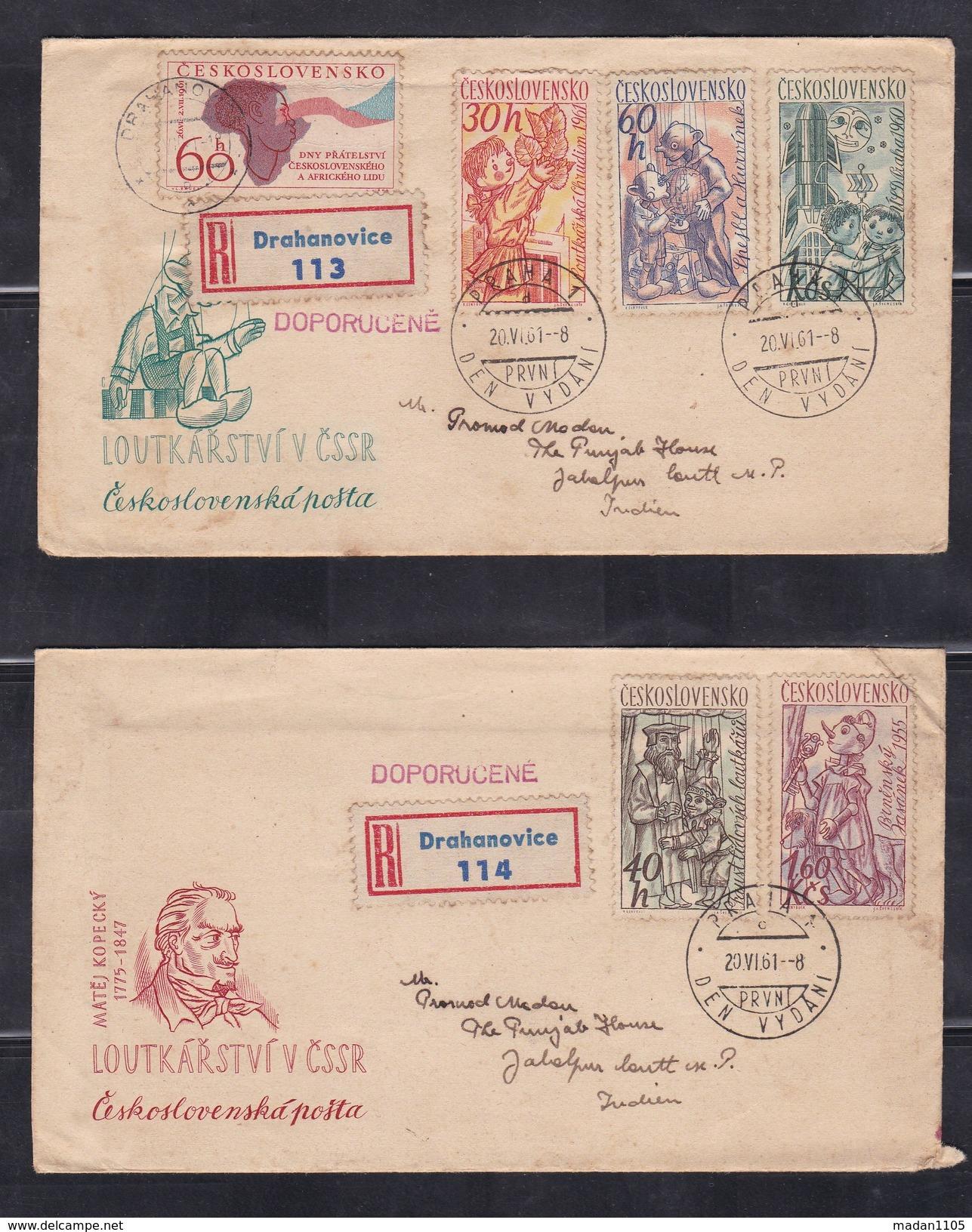 CZECHOSLOVAKIA, 1961, Set Of 2 FDC's, Czech Puppets, Set 5 V Complete+ 1 Additional Stamp On Reverse - Briefe U. Dokumente