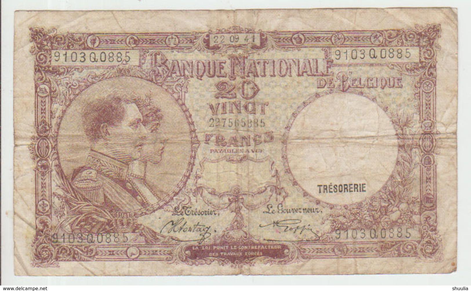Belgium 20 Francs (22.09.1941) Pick 111 VG+ - [ 2] 1831-... : Regno Del Belgio