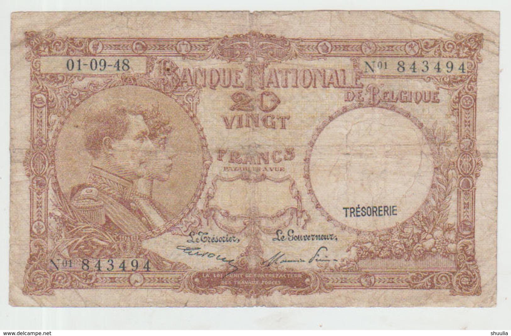 Belgium 20 Francs (01.09.1948) Pick 111 VG+ - [ 2] 1831-... : Regno Del Belgio