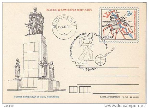 HISTORY, WW2, LIBERATION OF WARSAW, PC STATIONERY, ENTIER POSTAL, 1980, POLAND - 2. Weltkrieg