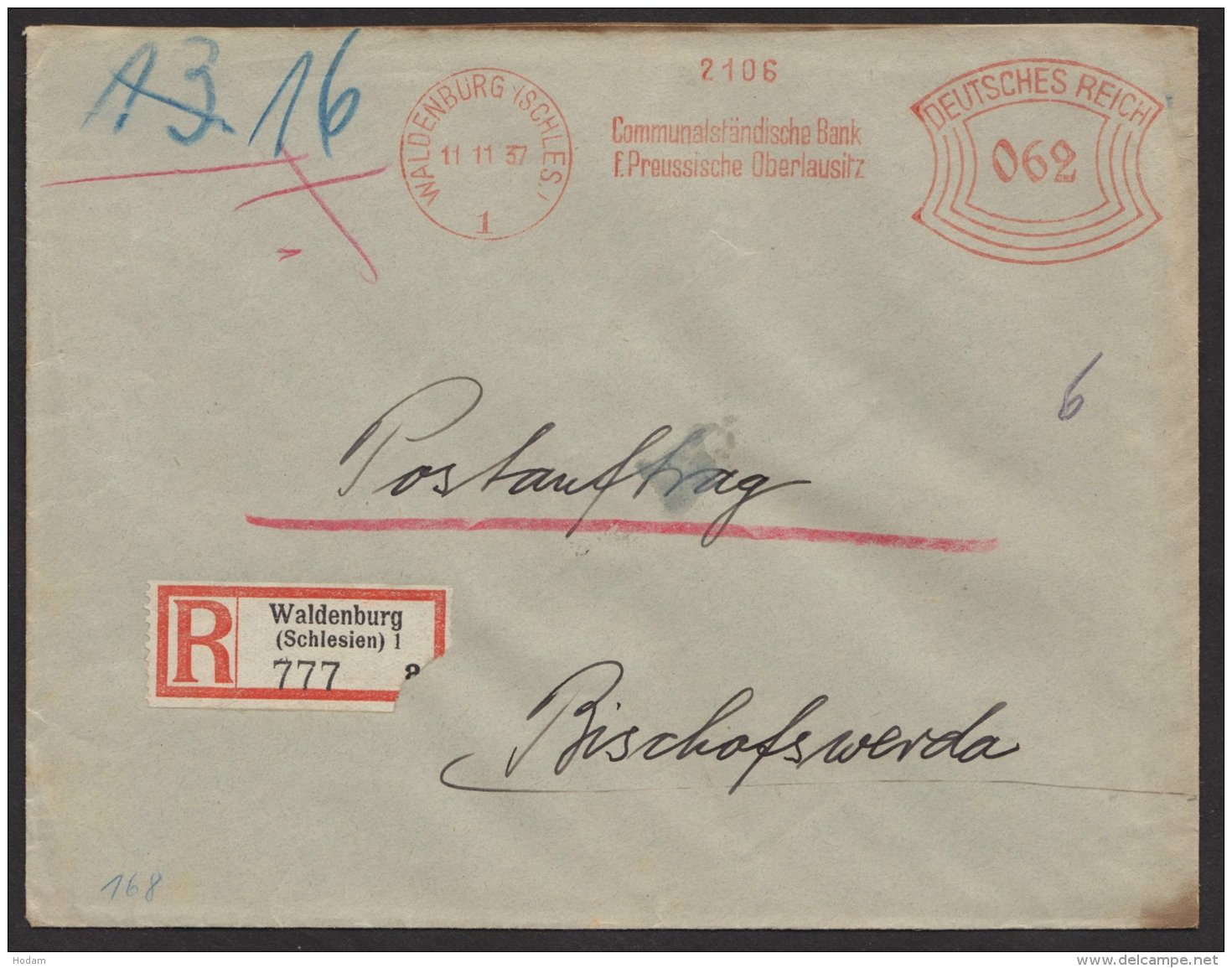 """""""Postauftrag"""", R-Brief """"Communal- Bank"""", Waldenburg/ Schlesien, 1937, Seltener Tarif Zu 62 Pfg. - Deutschland"""
