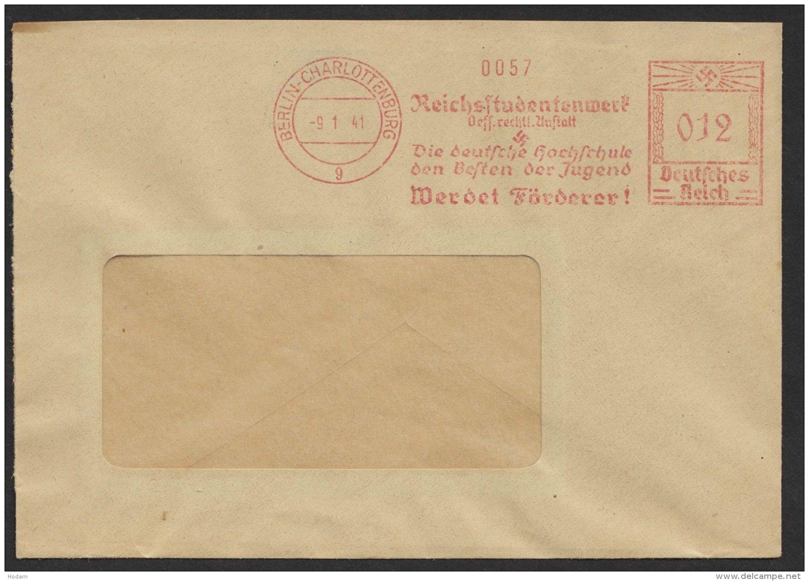 """""""Berlin- Charlottenburg"""", """"Reichsstudentenwerk"""", 1941, Dek. Und Seltener Stempel - Deutschland"""