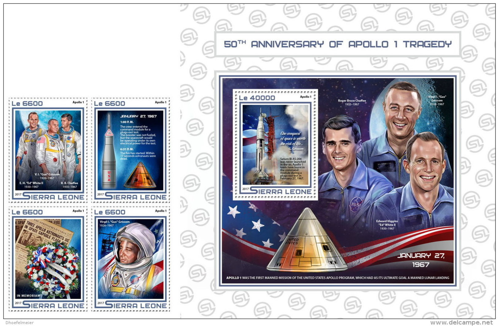 SIERRA LEONE 2017 ** 50 Years Tragedy Apollo 1 Tragödie Apollo 1 Tragedie Apollo 1 4v+S/S - OFFICIAL ISSUE - DH1724 - Space