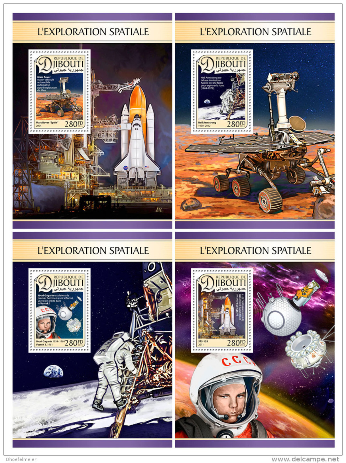 DJIBOUTI 2016 ** Space Explorations Weltraumforschung Exploration Spatiale 4S/S - OFFICIAL ISSUE - DH1726 - Africa