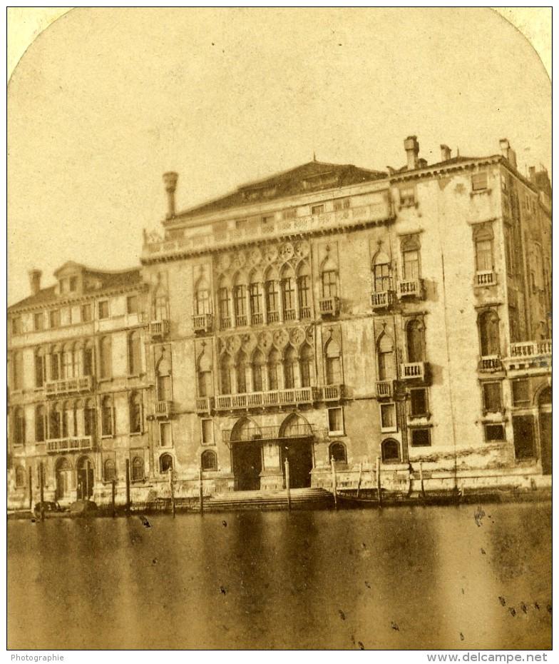 Italie Venise Palais Palazzo Pisani Moretta Ancienne Stereo Photo 1865 - Stereoscopic