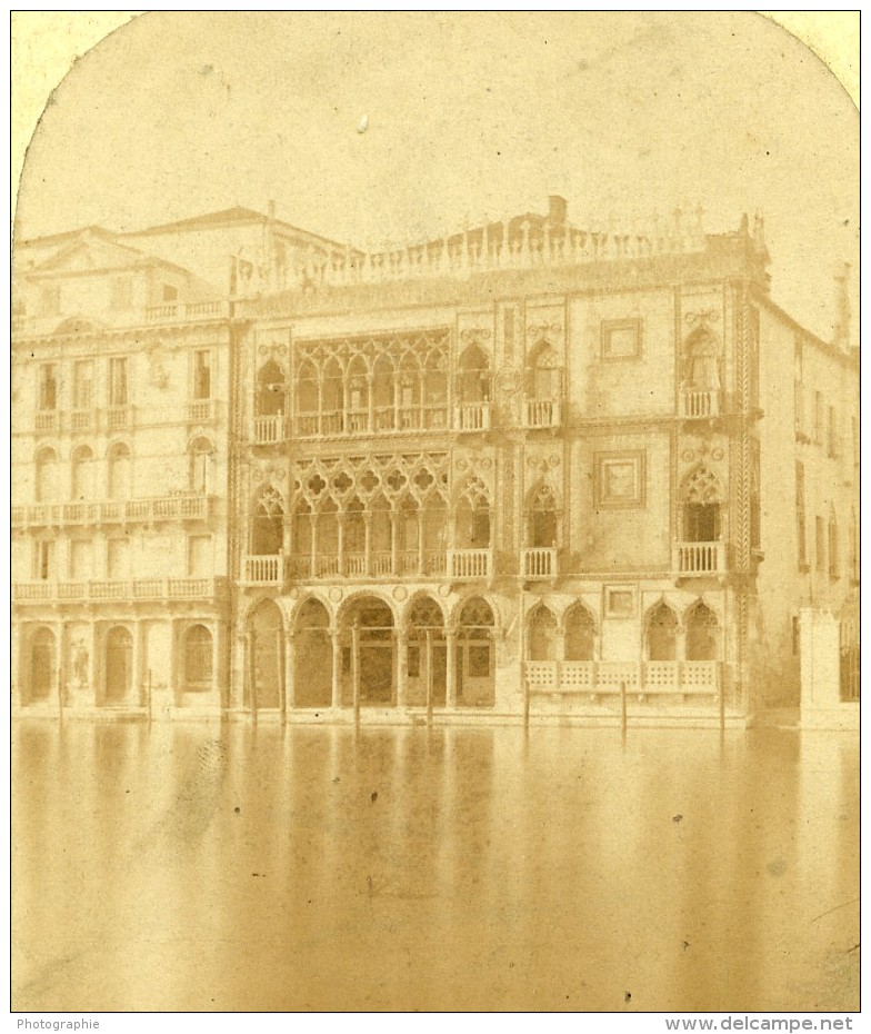 Italie Venise Palais D'or Ca' D'Oro Ancienne Stereo Photo 1865 - Stereoscopic