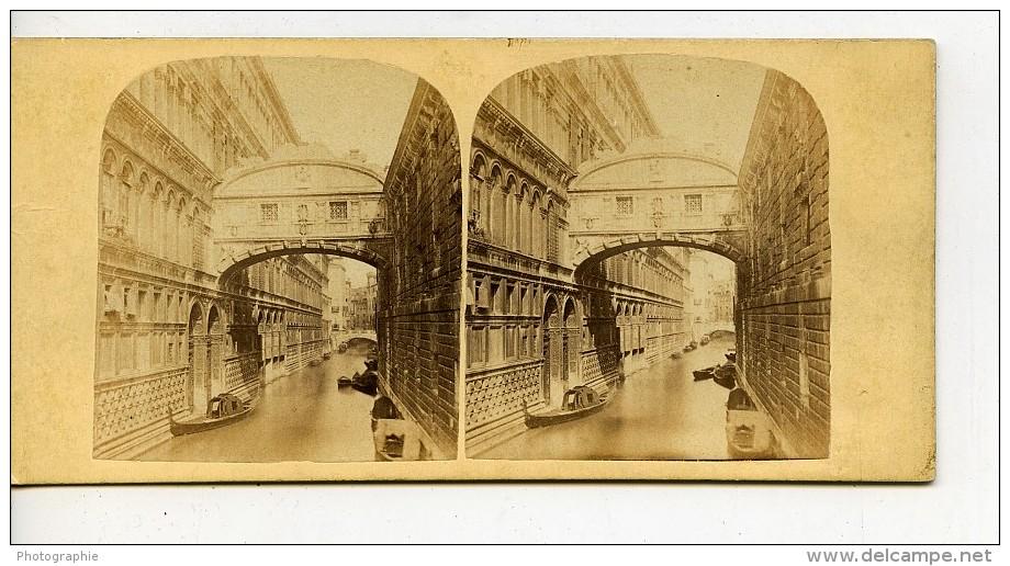 Italie Venise Pont Des Soupirs Canal Gondole Ancienne Stereo Photo 1865 - Stereoscopic