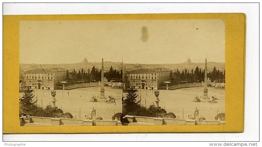 Italie Rome Piazza Del Popolo Obelisque Panorama Ancienne Stereo Photo 1865 - Stereoscopic