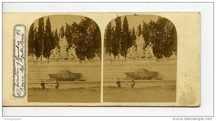 Italie Rome Piazza Del Popolo Fontaine De Romulus Ancienne Stereo Photo 1865 - Stereoscopic