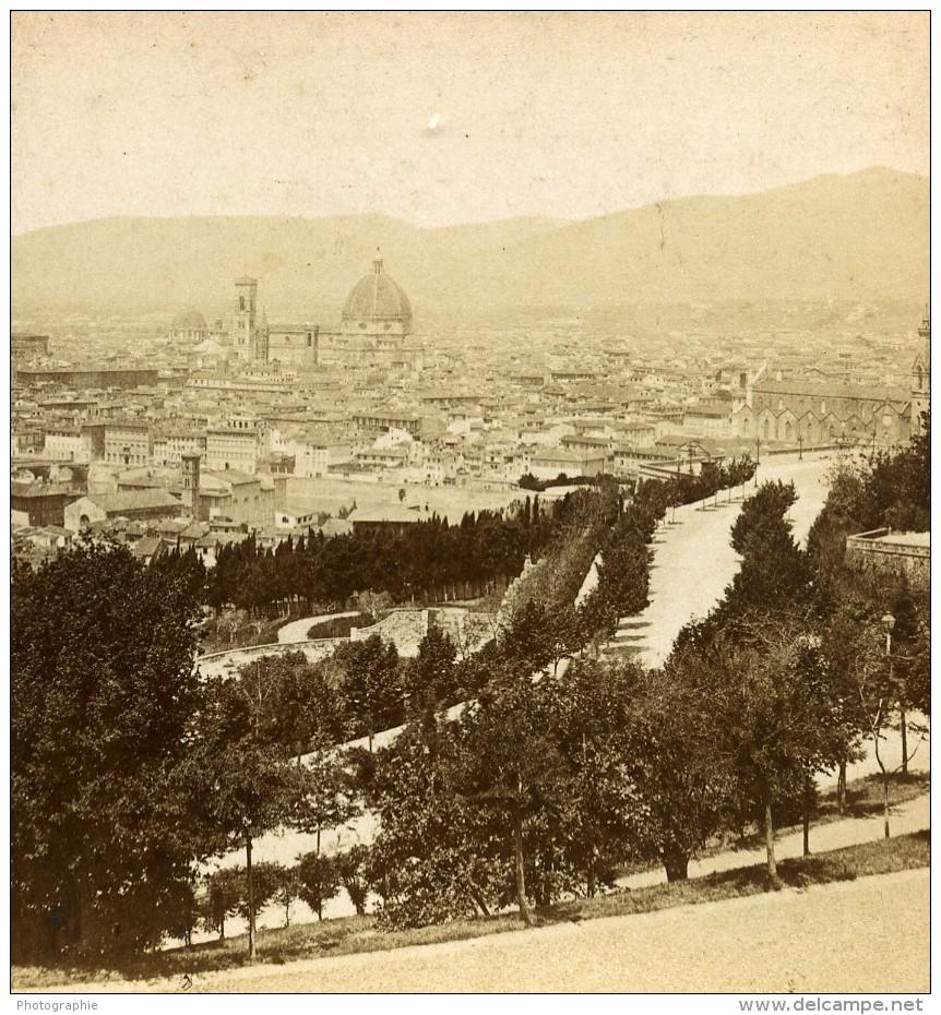 Italie Florence Panorama Viale Dei Colli Ancienne Stereo Photo Brogi 1865 - Stereoscopic