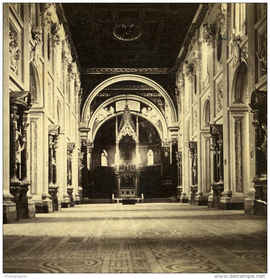 Italie Rome Basilique San Giovanni Saint-Jean-de-Latran Ancienne Stereo Photo Sommer 1865 - Stereoscopic
