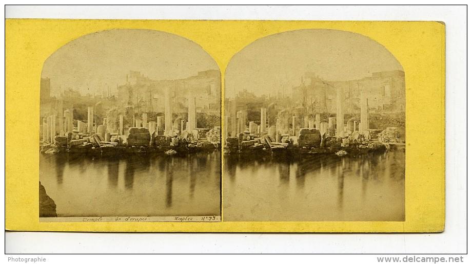 Italie Naples Temple De Serapis Pozzuoli Ancienne Stereo Photo 1865 - Stereoscopic