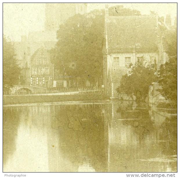 Italie Pres De Venise Canal Ancienne Stereo Photo 1900 - Stereoscopic