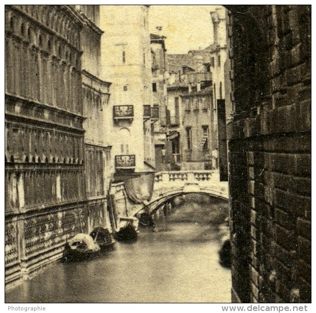 Italie Venise Pont Des Soupirs Canal Ancienne Stereo Photo Perini 1860 - Stereoscopic