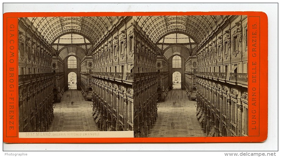 Italie Milan Galleria Vittorio Emanuele II Ancienne Stereo Photo Brogi 1865 - Stereoscopic