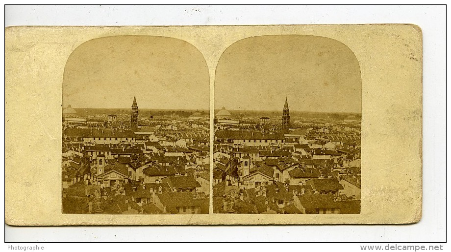 Italie Milan Milano Panorama Vue Generale Ancienne Stereo Photo 1865 - Stereoscopic