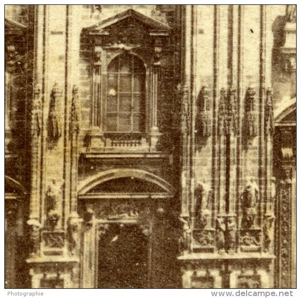 Italie Milan Cathedrale Milano Duomo Façade Ancienne Stereo Photo 1865 - Stereoscopic