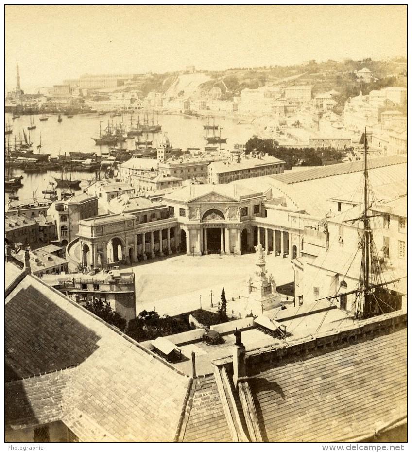 Italie Gênes Genoa Panorama Ancienne Stereo Photo Noack 1865 - Stereoscopic
