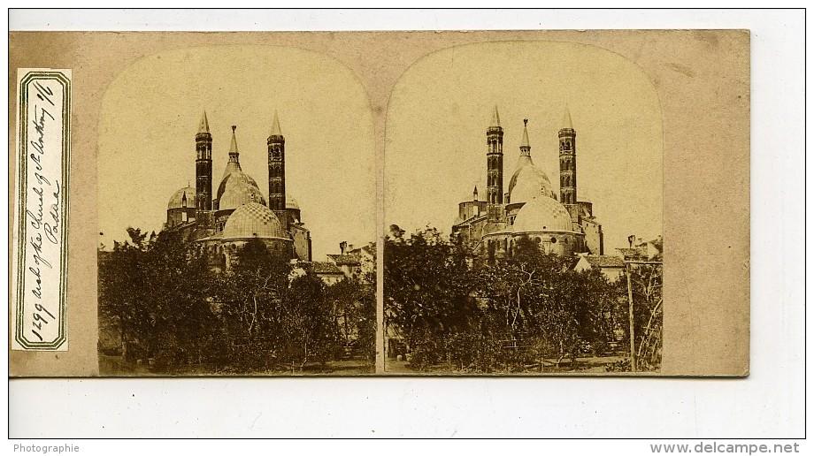 Italie Padoue Padova Basilique Saint Antoine Sant'Antonio Ancienne Stereo Photo 1865 - Stereoscopic