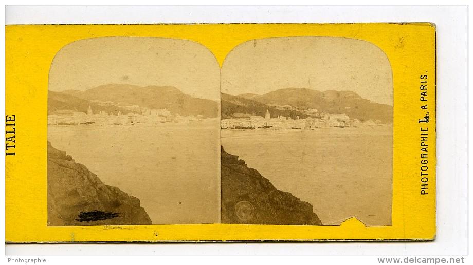 Italie Finale Ligure Panorama Ancienne Stereo Photo 1865 - Stereoscopic