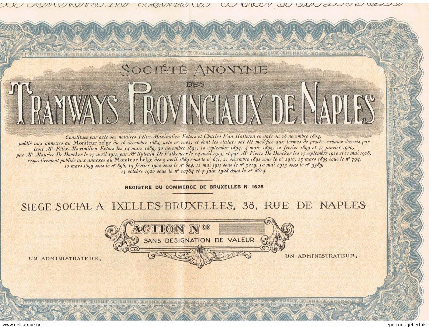 Action Uncirculed - Société Anonyme Des Tramways Provinciaux De Naples - Titre De 1928 - Chemin De Fer & Tramway