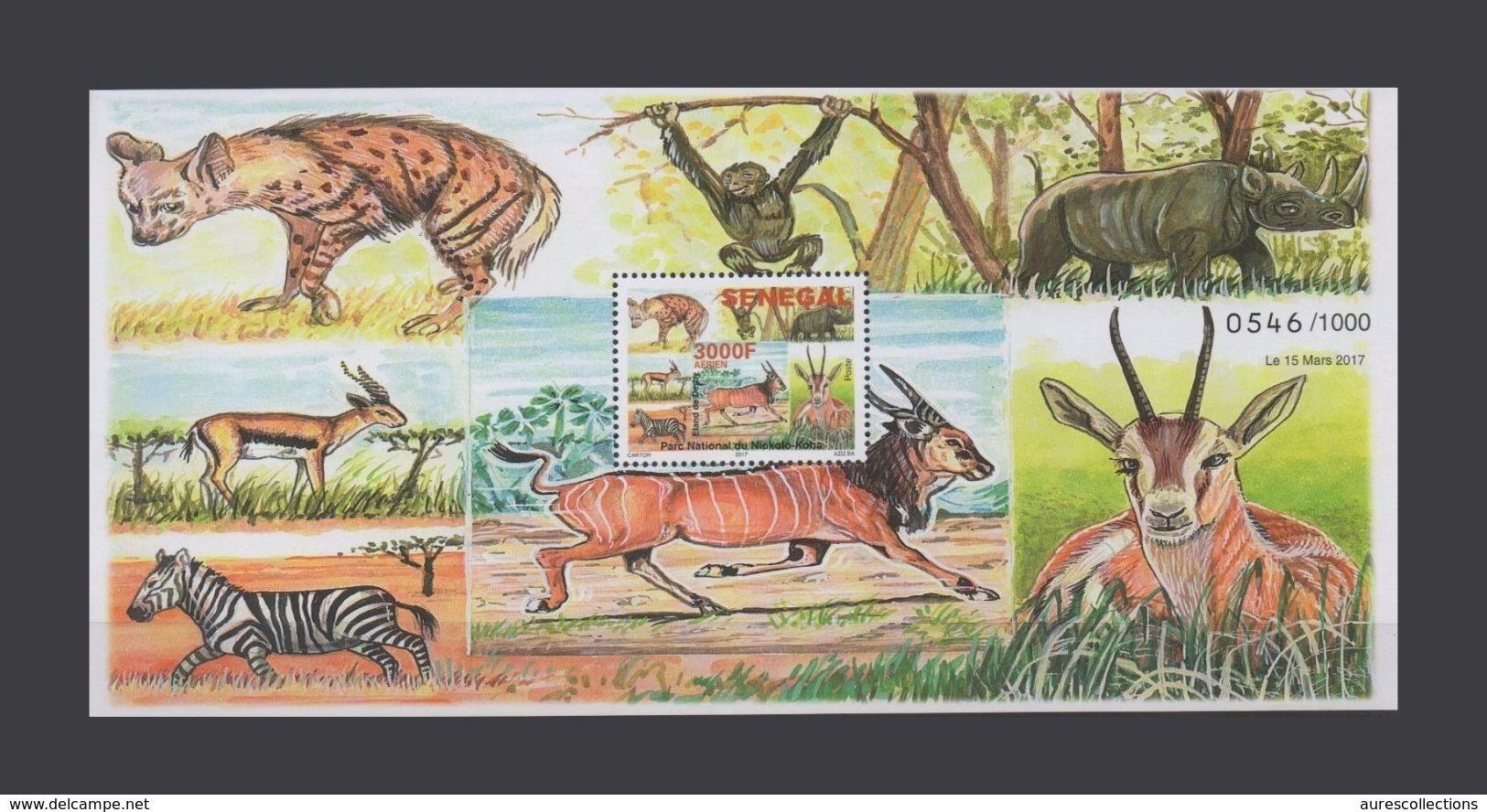 SENEGAL FAUNA ANIMALS NATIONAL PARK MONKEY APE ANTELOPE ZEBRA RHINOCEROS HYENA 2017 S/S SOUVENIR SHEET (ULTRA RARE) MNH - Rhinozerosse
