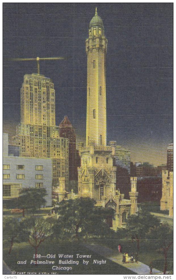 Bâtiments Et Architecture - Château D'Eau Et Bâtiment Palmolive Chicago - Nuit - Châteaux D'eau & éoliennes