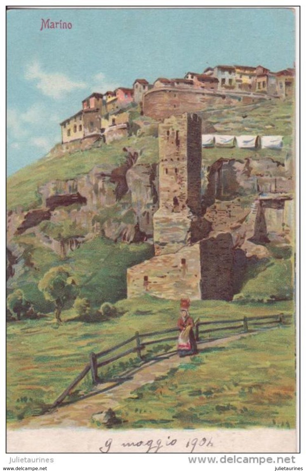 MARINO UN VILLAGE 1904 ANIMÉE CPA BON ÉTAT - Italia