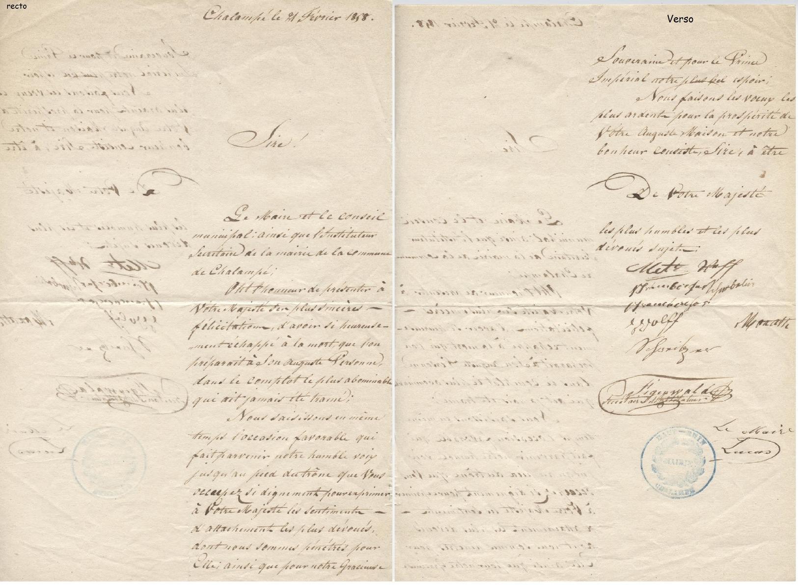"""Chalampé 1858 """"Félicitations Du Maire D'avoir échappé à La Mort"""" - Manuscripts"""