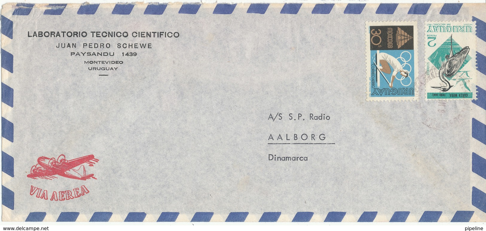 Uruguay Air Mail Cover Sent To Denmark 1969 - Uruguay