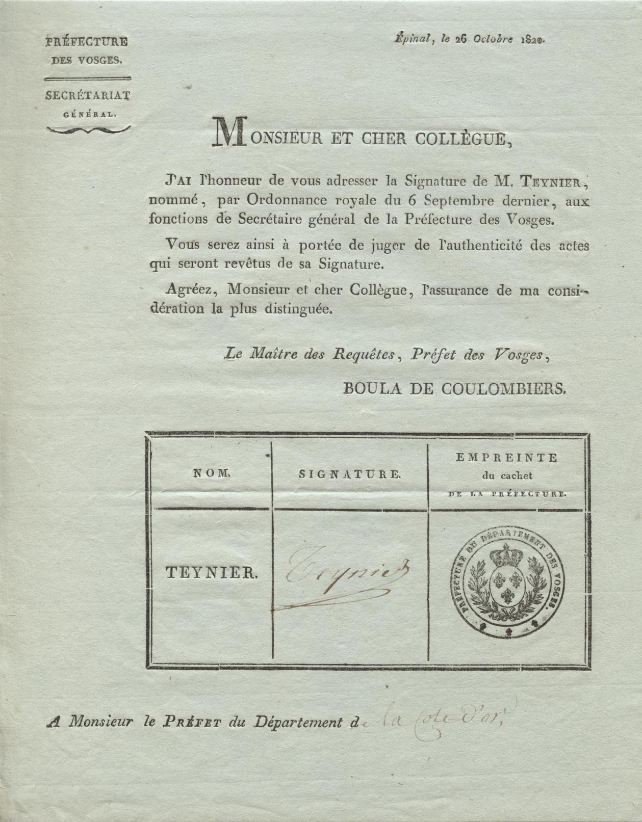 Épinal 1820  Signature Secrétaire Général Teynier - Historical Documents
