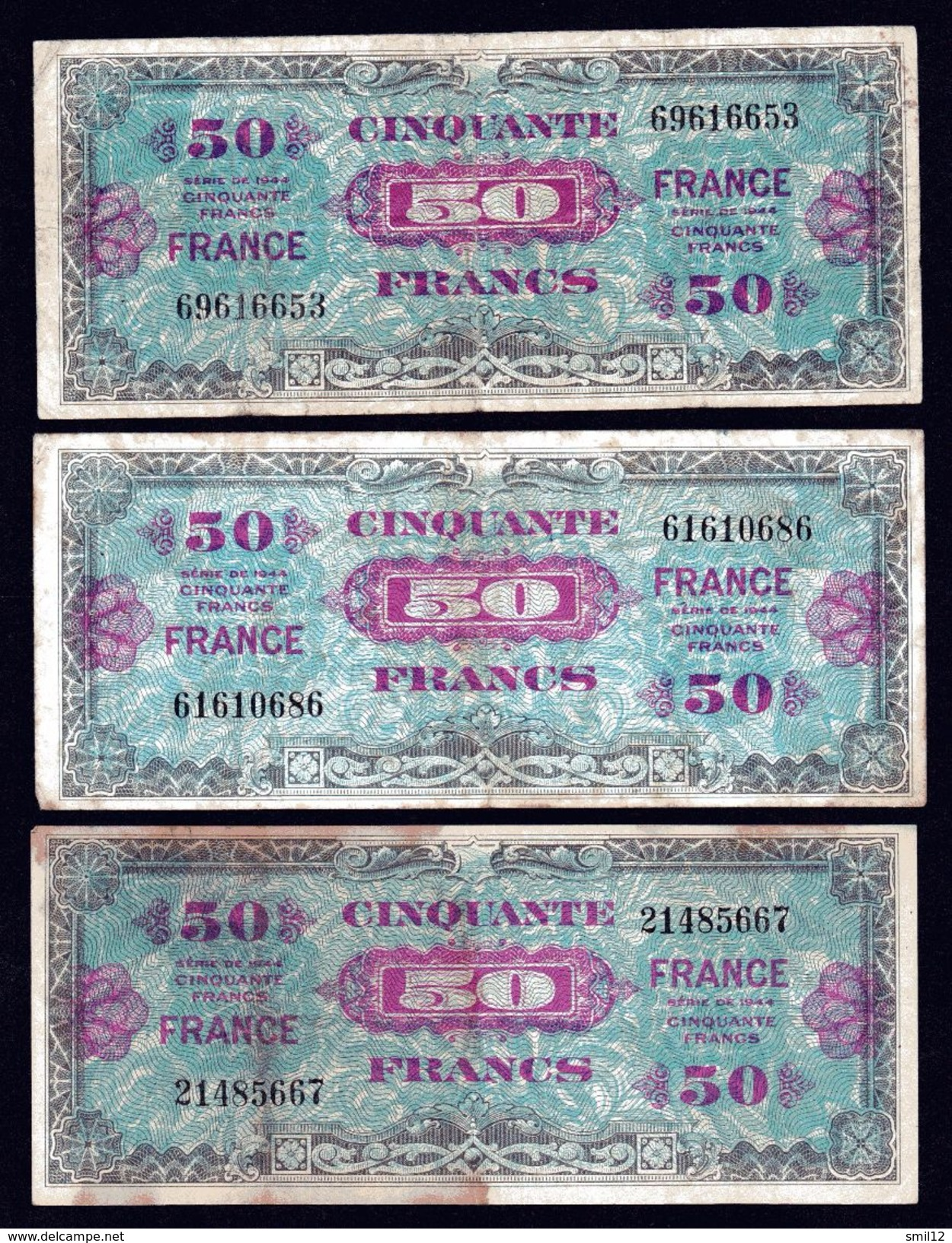 France - Lot 3X 50 Francs France - Treasury